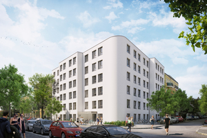 """Das """"Carnaby Living House"""" in Berlin. Es ist Deutschlands erstes digitales Studentenwohnheim, ausgestattet mit der REOS-Plattform, die unter anderem eine digitale Verbrauchsablesung bietet."""