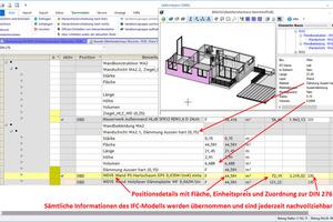 Sämtliche Informationen des IFC-Modells werden übernommen