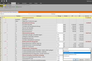 Nach Excel exportierte Leistungsverzeichnis