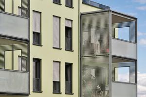 Individualität: jedes der drei Gebäudeteile mit eigenem Fassadenton