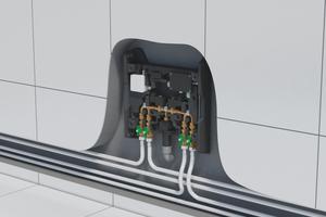 Für den hygienisch erforderlichen Wasseraustausch in der Stockwerksverteilung – ganz gleich für welchen Gebäudetypen – sorgt vollautomatisch die Smatrix Aqua PLUS-Spülstation. Sie arbeitet temperatur- oder zeitgesteuert