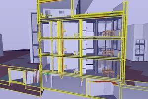 Für das Qualitätsmanagement im Modell kommt Solibri zum Einsatz. Hier ist ein Schnitt durch das aktuelle Modell im Programm zu sehen