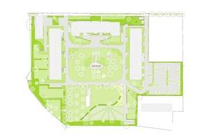 Oben verläuft die Eduard-Rosen-thal-Straße. Das Tor mit der Zufahrt verbindet das quer liegende Hauptgebäude und das Gebäude im Westen und ist auf dieser Skizze nicht zu erkennen. Die U-förmige Wohnanlage, die die Gebäude des früheren Krankenhauses übernahm, ist jedoch gut sichtbar. Ebenso die große gemeinsame Freifläche, die autofrei gehalten wird