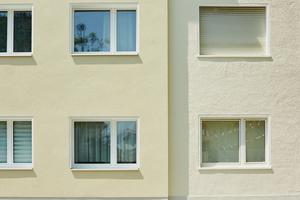 Der Farbton des Putzes fügt sich harmonisch an den nicht modernisierten Teil des Gebäudes an
