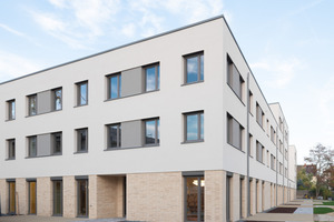 Als erster Meilenstein beim Bau des integrativen Quartiers ist Haus 4 fertiggestellt worden. Es bietet Platz für eine Kindertagesstätte und einen Internatswohnbereich