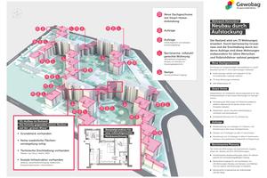 Die Infografik zeigt, welche Maßnahmen inklusive der Dachaufstockungen im Wohnpark Mariendorf durchgeführt und welche Smart Living-Funktionen integriert wurden<br />