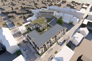 """Ein Wohngebäude wird über Eck geführt, das zweite ist wie ein langgestrecktes """"T"""" gestaltet. Das City Hotel steht dazu im 45-Grad-Winkel"""