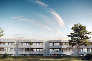 Hell und freundlich wirken die mit KEIM Lignosil-Color beschichteten Mehrfamilienhäuser