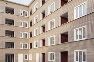 Ein Teil des mit 181 Wohnungen größten Holz-Hybridwohnbaus der Siedlung