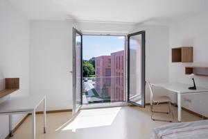 Blick in ein Apartment: In hochschulnaher Lage ist bezahlbarer Wohnraum für die Studierenden entstanden