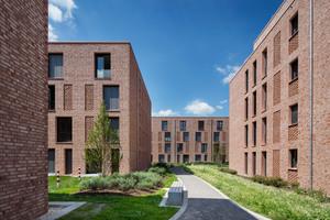 Die neuen Gebäude des Studentenwohnheims: Fassadenstruktur, Materialität und sorgfältige Details schaffen eine identitätsstiftende Atmosphäre