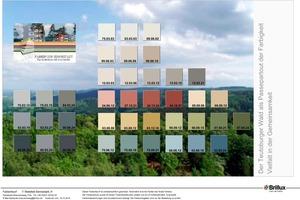 Die Farbkollektion für die Sennestadt: 30 Fassadenfarben und neun Akzentfarben für Fassaden von heute – mit Nuancen, die sehr nah an den originalen Farben der 1950er- und 60er-Jahre sind