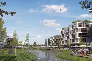 """""""Essen 51"""" ist ein neues Stadtquartier mit 2500 Wohnungen am Rande der City und in Nachbarschaft zur Thyssen-Krupp-Zentrale. Visualisierung: Thelen-Gruppe"""