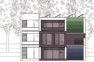 3. Preis: Als Tragwerk für das Mehrgenerationenhaus/Wohnwürfel wird eine leichte, flexible Skelettkonstruktion nach dem Prinzip eines griechischen Kreuzes gewählt, das mit austauschbaren Innen- und Außenflächen Raumbereiche entstehen lässt
