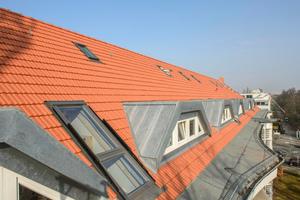 Das neue Dach mit der dem historischen Vorbild angepassten Doppelmulden-Falzziegel-Deckung Tradi 15 und neu gefassten Gauben
