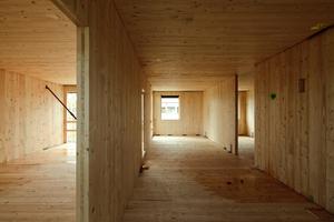 Die Brettsperrholz-Elemente wurden vielfältig eingesetzt: als tragende Wandelemente, im 6-Geschosser mit einer Kapselung, oder auch als Holz-Beton-Verbundelemente in der Deckenkonstruktion