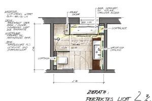 Duschbad mit einer klaren Raumaufteilung, Einbauten sorgen für Wohnlichkeit und Stauraum auf kleiner Fläche<br />