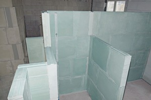 Die Sanitärräume wurden mit hydrophobierten Gips-Wandbauplatten realisiert