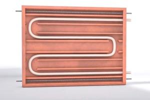 """Im Inneren der """"Unitherm-Flächenheizung"""" befindet sich ein schleifenförmig verlegtes Heizungsrohr. Es ist in Spezialmörtel eingebettet und temperiert das gesamte Modul"""