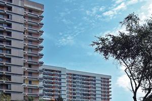 Der Vorher-Nachher-Vergleich zeigt das erste instand <br />gesetzte Hochhaus (rechts), während das linke Gebäude <br />zum Zeitpunkt der Aufnahme noch nicht fertig gestellt war<br />
