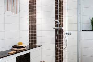 Kann auf jeder Etage eingebaut werden: die barrierefreie Dusche Easygo Plus. Die Pumpe ist in der Sitzbank versteckt
