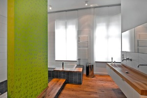 Auch bei den Außenwänden im Badbereich gewährleistet die Sylitol-Bio-Innenfarbe die Wasserdampfdurchlässigkeit<br />