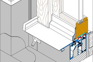 Abb. 2: Querschnitt einer Sonderlösung mit werkseitig integriertem Anschluss inklusiver Laibung und Außenecke