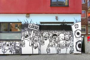 Originell bemalte Hausfassade auf dem Hamburger Kiez