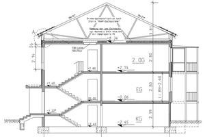 Schnitt durch die neue Dachkonstruktion