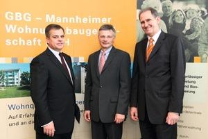 v.l.n.r..: Thomas Ortmanns, Aareal Bank, Dr. Georg Müller, MVV Energie AG und Wolfgang Bielmeier, GBG Mannheimer Wohnungsbaugesellschaft mbH<br />