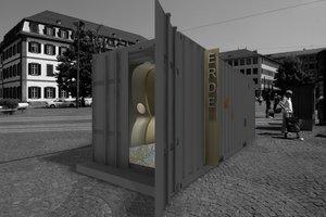 Der Erdcontainer zeigt einen organischen, aber dennoch ruhigen und abstrakten Raum