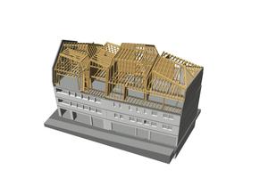 Visualisierung Holzkonstruktion. Um möglichst wenig zusätzliche Masse einzubringen, wurden die neuen Geschosse in Holzleichtbau und mit einer Deckung aus Titanzink ausgeführt