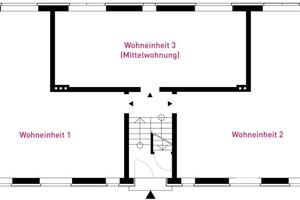 Grundrisse: Vorher, nachher und mit Trennwänden (nachher)
