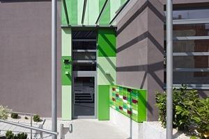 Ansprechend gestaltet: der Eingang zum Gebäude