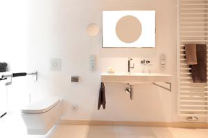 Der Einbau des behindertengerechten Installationselements Rapid SL ermöglicht das Nachrüsten des WCs mit Stützgriffen