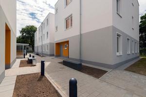 Trotz Vorfertigung lassen sich anspruchsvolle Gebäude verwirklichen, hier ein mehrgeschossiger Wohnungsbau