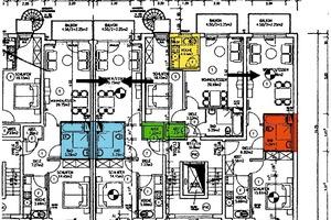 Etagengrundriss Merziger Straße: Die grünen sowie die blauen Räume sind Grundlage der Berechnungen<br />