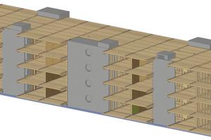 Die Isometrie der Aufstockung zeigt den dominierenden Holzbau (braun) und den mineralischen Anteil (grau) der Erschließungskerne