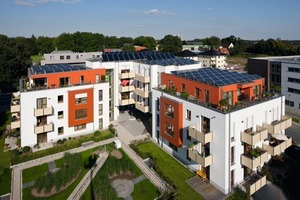 Die Solarsiedlung in Münster besteht aus insgesamt <br />20 Wohnungen, die über zwei Treppenhäuser und <br />einen Aufzug erschlossen werden<br />