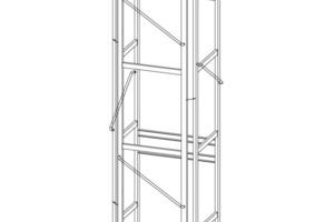 Die selbsttragende Schachtkonstruktion beeinflusst die Statik des Gebäudes nur unwesentlich. Abgeschrägte Eckstelen kommen den Brandschutzvorgaben entgegen und sorgen für möglichst große Rettungswege<br />