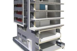 Das Modell zeigt den konstruktiven Querschnitts des Pile Up Giesshübel