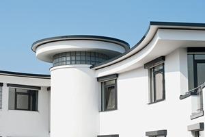 Dachrand als gestalterisches Element. <br />Die reduzierte Linienführung unterstützt die architektonische Gestaltung