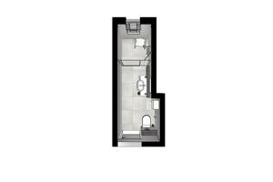 Funktionale Raumgestaltung: Eine clevere Planung nutzt den Platz optimal aus, sodass auf noch nicht einmal 6 m<sup>2</sup> ein Komfortbad entsteht, dass auch mit Rollator zu nutzen ist