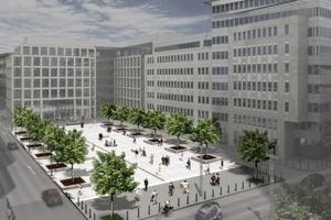 Nach der Neugestaltung öffnet sich der Blittersdorffplatz zur Mainzer Landstraße hin und wird zum attraktiven Entree, Entwurf: Kissler und Effgen, Architekten BDA, Wiesbaden