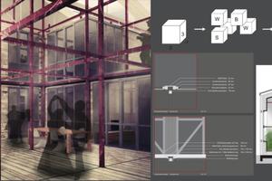 Beim Konzept Grid wird die komplette Halle als Raum genutzt und gedämmt. Ein Stahlgitter ist das Grundgerüst, an dem die Wohnmodule angebracht werden.