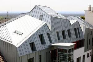 Wie ein lockerer Faltenwurf legt sich das Dach über das Gebäude. Falzlinien in verschiedenen, teilweise auch von der Falllinie abweichenden Richtungen unterstützen die Wirkung