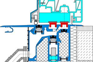 Abb. 3: Im Systemquerschnitt – der bewegliche Magnetverschluss (hier in rot) und die Wasserablaufstutzen mit Schlauchanschluss zur Dachfläche