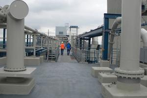 Wartungsarbeiten und nachträgliche Abdichtungen von Details sind auf dem Silodach des RWE Kraftwerks Westfalen problemlos möglich, seit es mit Flüssigkunststoff abgedichtet ist