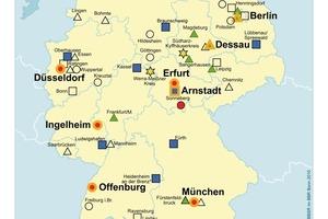 """Abbildung 2: Übersicht zu den Förderprojekten im ExWoSt-Forschungsfeld """"Innovationen für familien- und altengerechte Stadtquartiere""""<br />"""