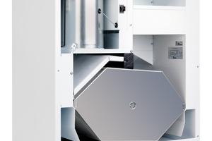Der integrierte Kreuz-Gegenstrom-Wärmetauscher erzielt einen Wärmerückgewinnungsgrad von bis zu 90%